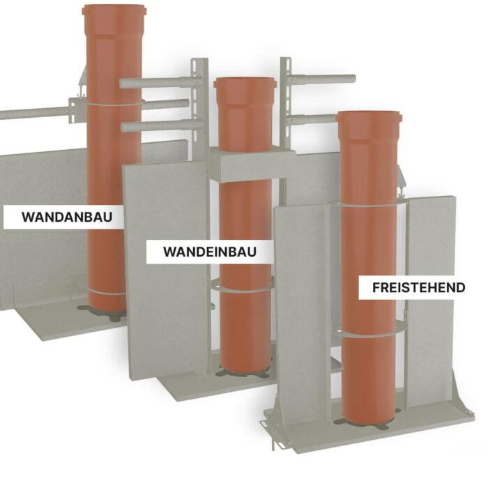 Lippert Pelletautomaten Ansicht aller Varianten Wandanbau Wandeinbau und freistehend