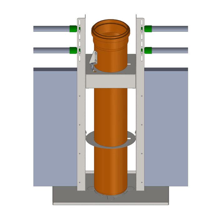 Lippert Pelletautomat Wandeinbau technische Zeichnung Frontal