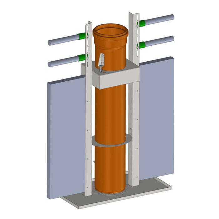 Lippert Pelletautomat Wandeinbau technische Zeichnung Perspektive